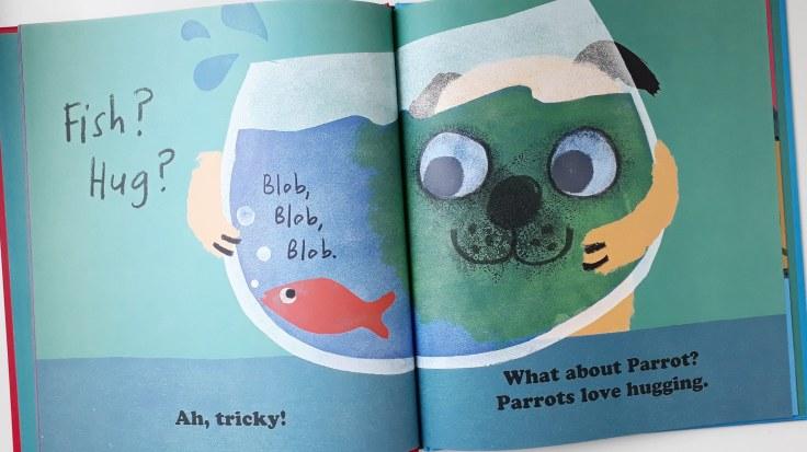Hugging fish in Pug Hug by Zehra Hicks Hodder Children's Books picture book