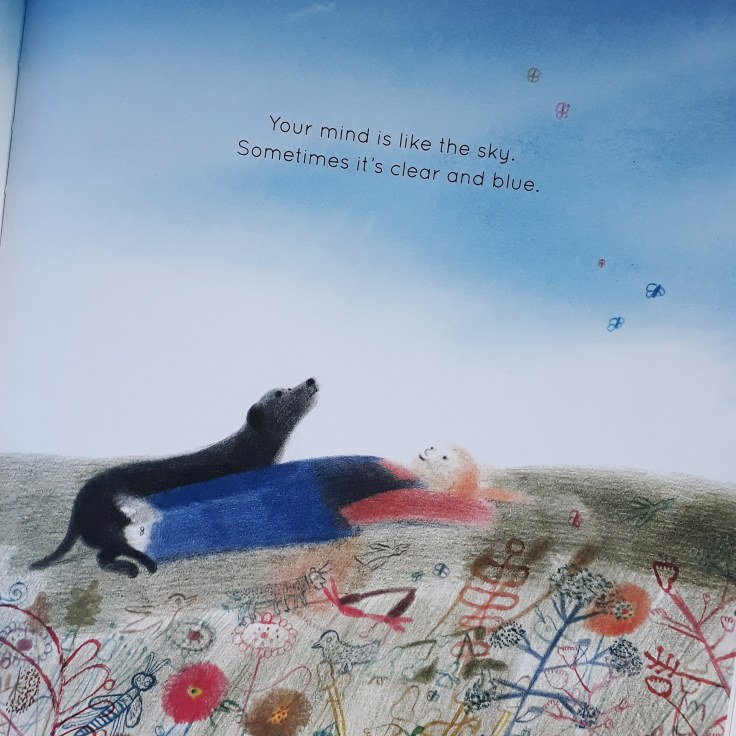 Clear thoughts like a clear sky in Your Mind is Like the Sky Mindfulness book for children Bronwen Ballard Laura Carlin Frances Lincoln Children's Books