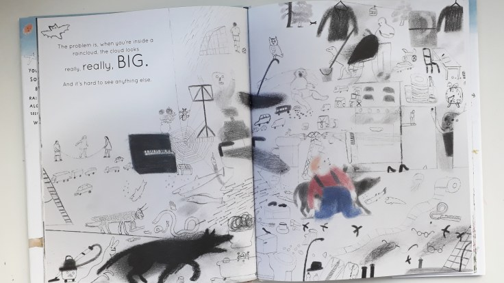 Coping with big intrusive thoughts in Your Mind is Like the Sky Mindfulness book for children Bronwen Ballard Laura Carlin Frances Lincoln Children's Books
