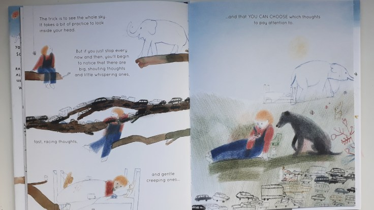 Recognising different types of thoughts in Your Mind is Like the Sky Mindfulness book for children Bronwen Ballard Laura Carlin Frances Lincoln Children's Books