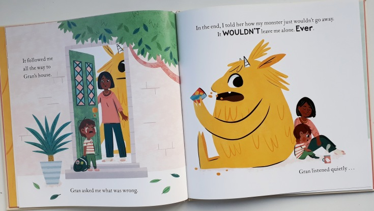 The importance of communication listening and talking in My Monster and Me Nadiya Hussain Ella Bailey children's picture book anxiety mental health hodder children's books