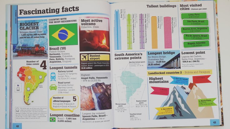 Country and continent facts in What's Where on Earth Atlas for kids DK Books children's non fiction
