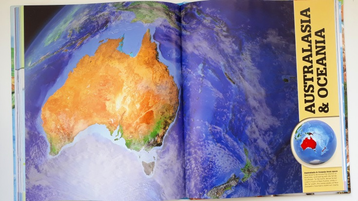 Satellite images continents in What's Where on Earth Atlas for kids DK Books children's non fiction