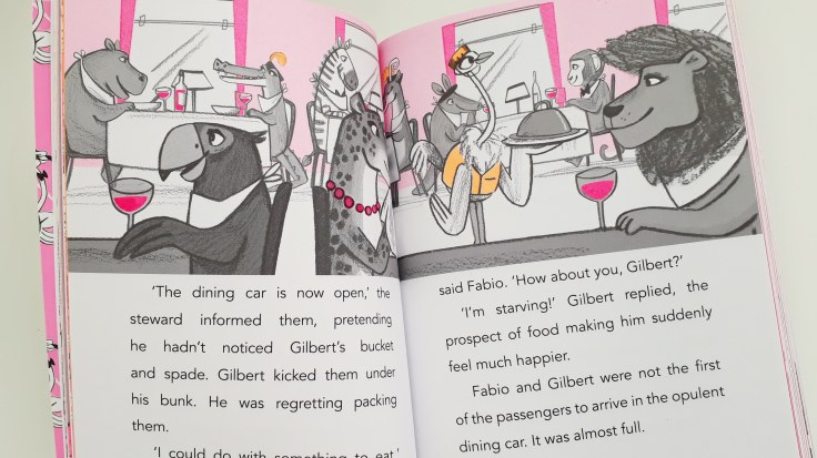Animal illustrations in Fabio flamingo detective mystery on the ostrich express Laura James Emily Fox Bloomsbury childrens middle grade chapter book