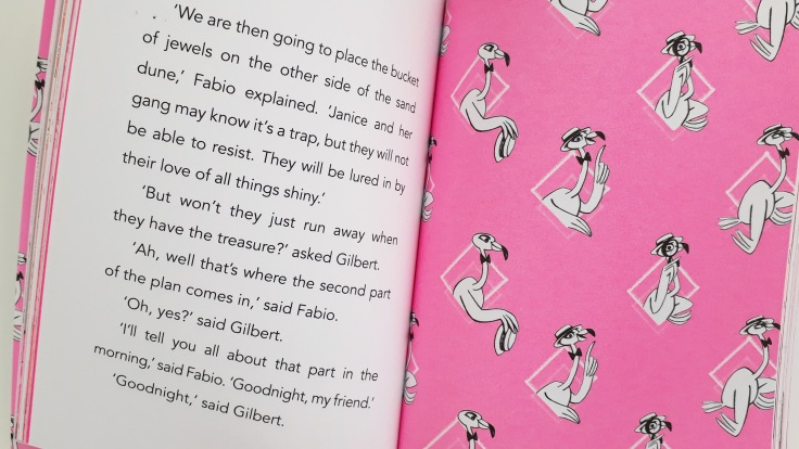 Bright pink pages in Fabio flamingo detective mystery on the ostrich express Laura James Emily Fox Bloomsbury childrens middle grade chapter book