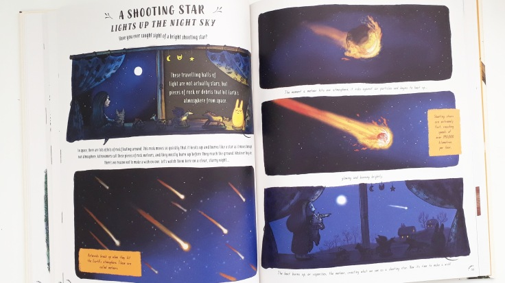 A shooting star in Slow Down by Rachel Williams and Freya Harris Non fiction children's book mindfulness nature stories magic cat publishing